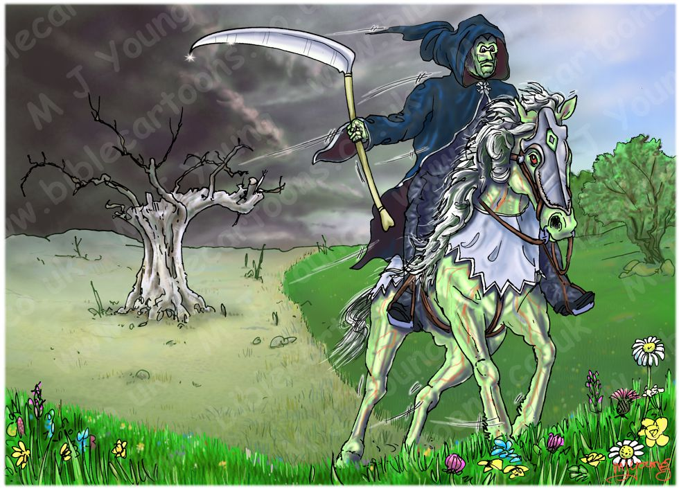 Revelation 06 - The Scroll seals - Scene 04 - Fourth seal Pale rider (without scroll) 980x706px col