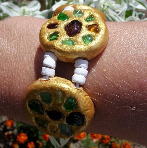 Bracelet en pâte polymère et verre polis