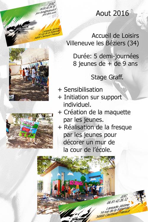 Stage graff, Decoration par les jeunes d'un mur de l'ecole de Villeneuve-Lés-Béziers (34) 08/2016. Rigolade, et apprentissage pedagogique, creation artistique.