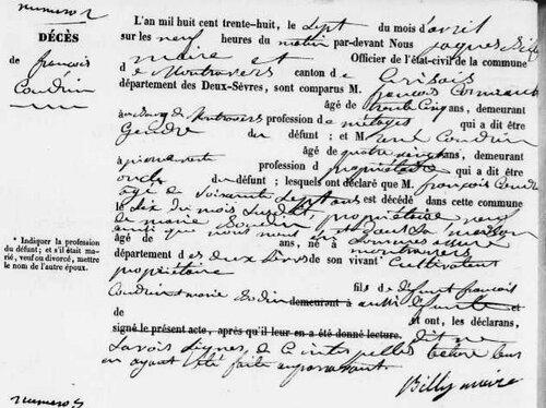 François Coudrin capitaine de paroisse de Montravers....