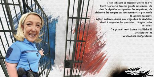 dessin de JERC vendredi 03 mars 2017 caricature Marine Le Pen Matonne bienvenue en F rance www.facebook.com/jercdessin