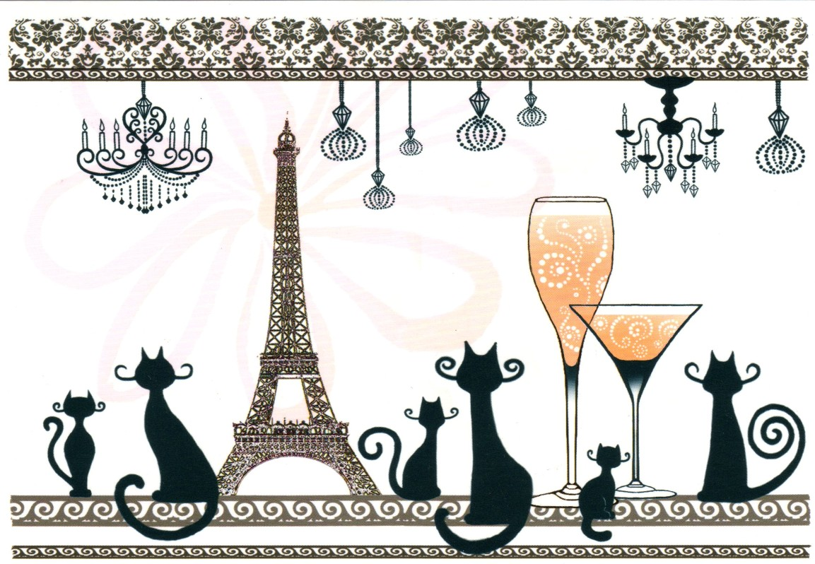 Carte chats, Paris et tour Eiffel