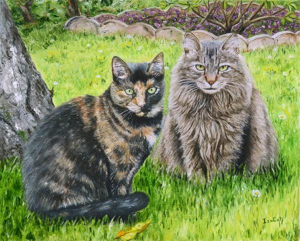 Peinture à l'huile de chats