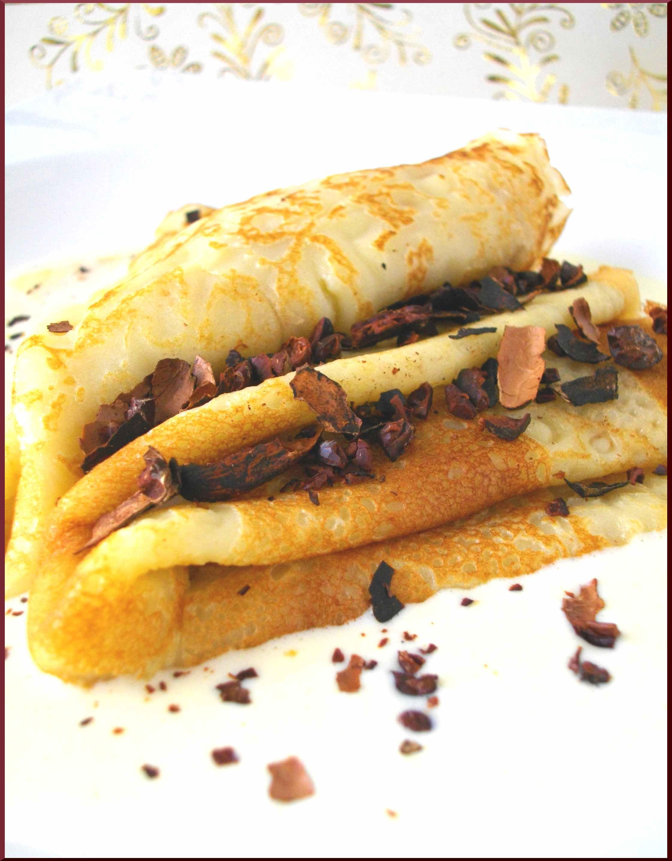 Crêpes Savoureuses au lait de cOco sur un lit de crème anglaise ''Vanille, Jasmin'' & quelques écorces de Cacao...♥