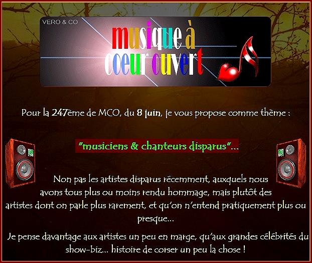 - MCO 247 : Artistes et musiciens disparus