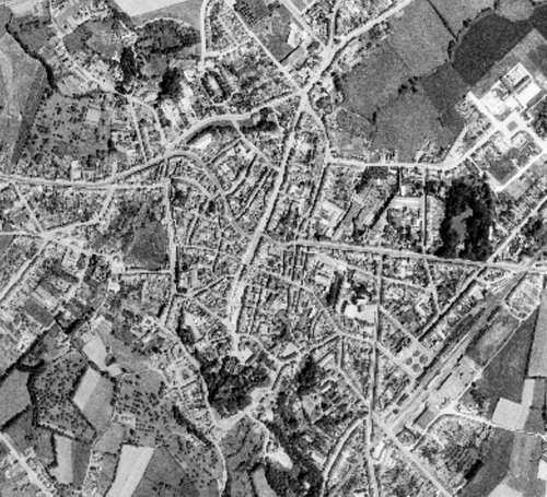 Binche - centre-ville en 1971 (geoportail.wallonie.be)