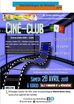 Notre prochain ciné-club ce samedi à 10h