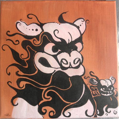 • Tableau pour ma chambre - chien fu (2) [Peinture]