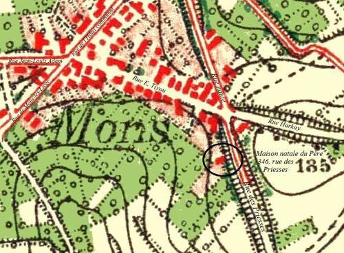 Mons, 346 rue des Priesses (1865)(geoportail.wallonie.be, Voyage dans le temps)
