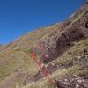 Il faut viser la zone herbeuse à la base de la dernière barre de grès rouge