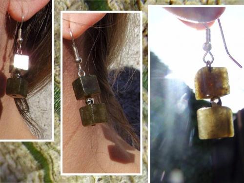 boucles d'oreilles en pierres semi-précieuses de Labradorite créées par Sylvie Le Brigant