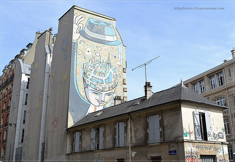 """Fresque murale """"Paris dans la tête"""" de François Boisrond"""