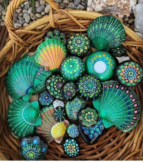 Coquillages peints