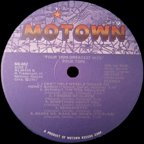 "The Four Tops : Album "" Greatest Hits "" Motown ‎Records MS 662 [ US ]"