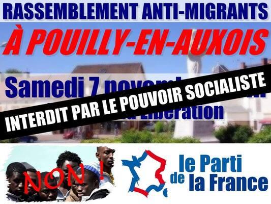 Interdiction de la manifestation du Parti de la France à Pouilly-en-Auxois par le pouvoir socialiste