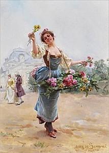 z5 Louis Marie de Schryver (French artist, 1862-1942) Flowe
