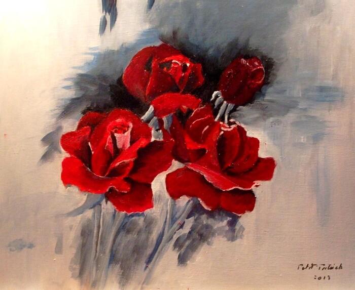 Roses rouge sur contre plaqué