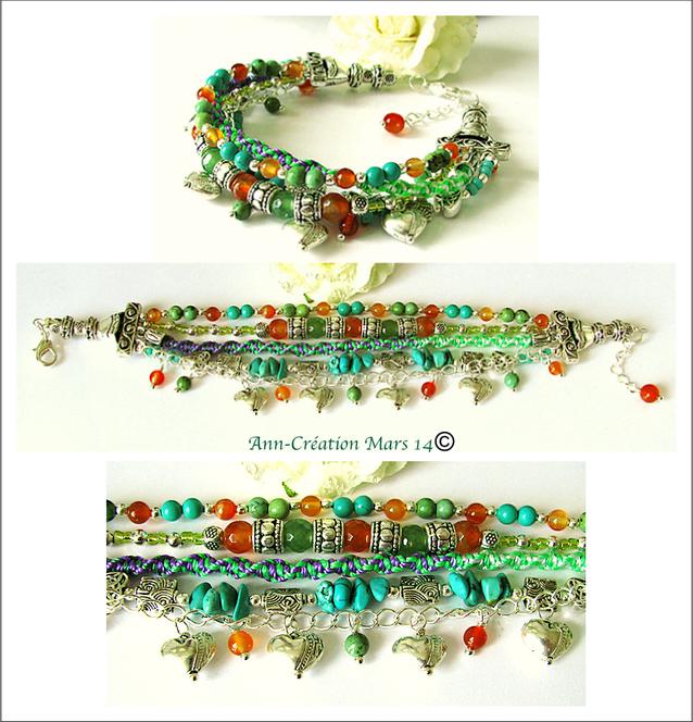 Réservé - Bracelet Gipsy Multi rangs Turquoise, Cornaline, Aventurine, Coton, Plaqué argent