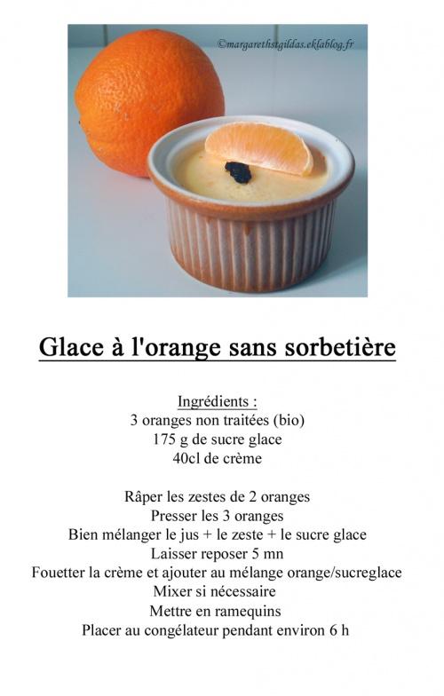Glace à l'orange sans sorbetière