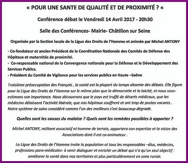 """""""Pour une santé de qualité et de proximité"""", une conférence proposée par la Ligue des Droits de l'Homme"""