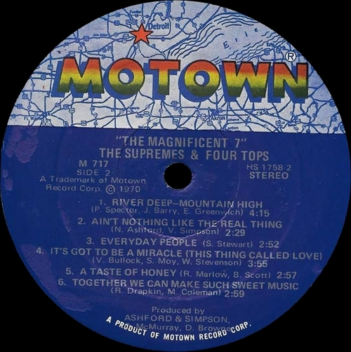 """The Supremes & The Four Tops : Album """" The Magnificent Seven """" Motown Records MS 717 [ US ]"""