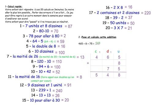 réponses maths CE1