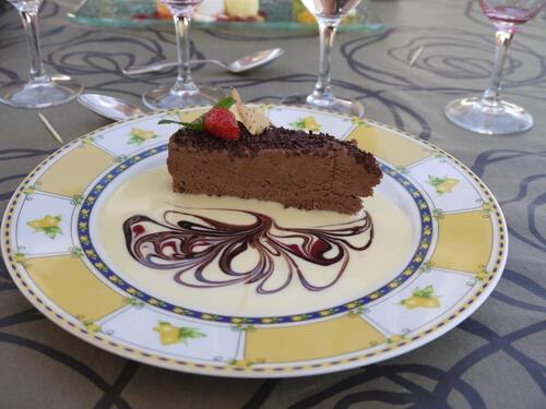 Moelleux chocolat et sa petite crème vanillée