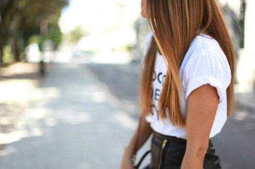 ombre, smile, fit, gold, purse, style, bag, skirt, hair, happy, shirt, black, blonde, girl, love, fashion, accessories, street, white, brunette, Hot
