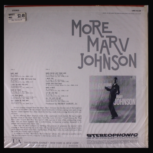 "Marv Johnson : Album "" More Marvelous Marv Johnson "" United Artists UAS 6118 [ US ]"