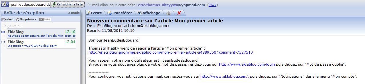 JeanEudesEdouard a reçu un mail à son adresse YopMail après mon commentaire