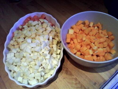 Tartelette fine aux légumes d'hiver, miel et chèvre