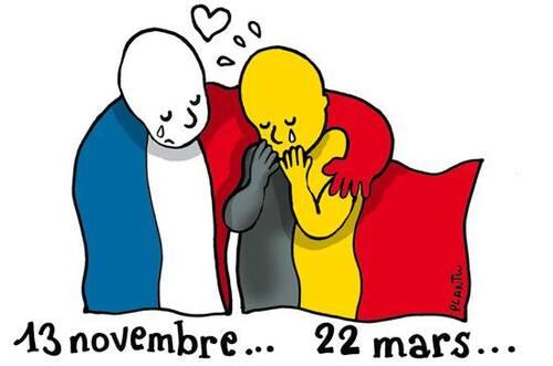 Hommage de Plantu aux victimes belges de ce jour.