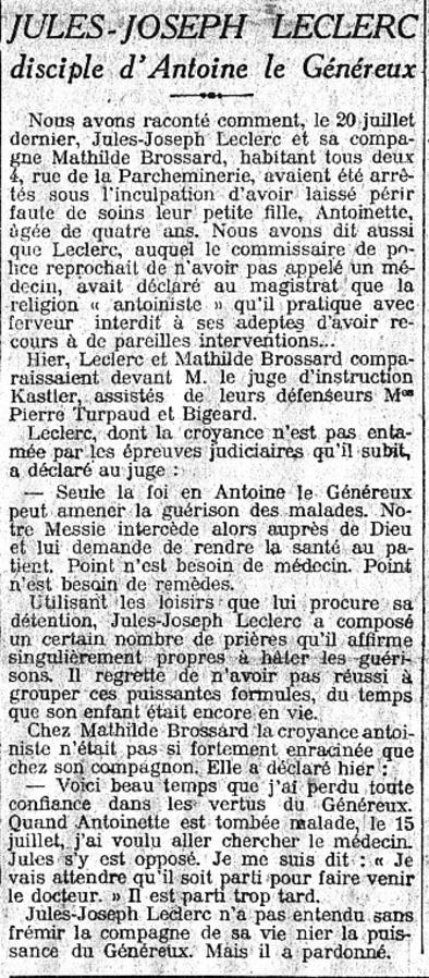 Joseph Leclerc (Le Matin 28 juillet 1912)