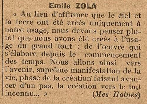 Emile Zola, Mes Haines (Le Biéniste, 15 juillet 1922)
