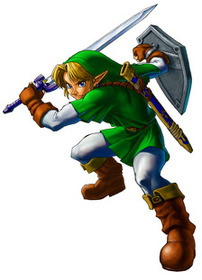 Adult Link swings the Master Sword - <i>Ocarina of Time 3D</i>