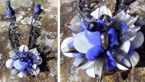 Collier de nacre avec ses perles transparentes et ses perles bleues aux couleurs seventies