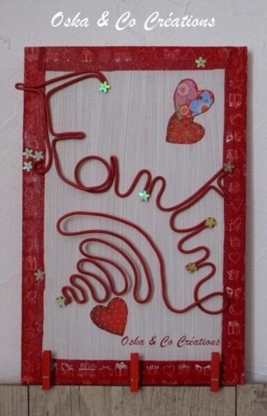 porte photo mural prénom Fantine en fil de cuivre gainé