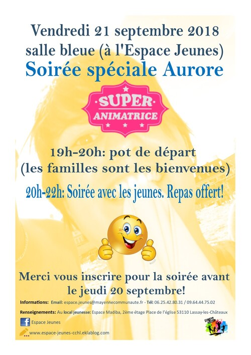 Soirée speciale Aurore vendredi 21 septembre