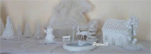 Pour mon village blanc : sapin tricotin et moulin
