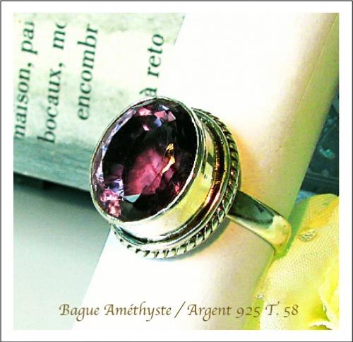 Bague Prasiolite ou Améthyste Verte / Argent 925 - T. 58 - 18,2mm de diamètre