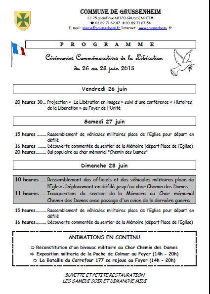 AGENDA- GRUSSENHEIM fête sa Libération du 26 au 28 Juin 2015