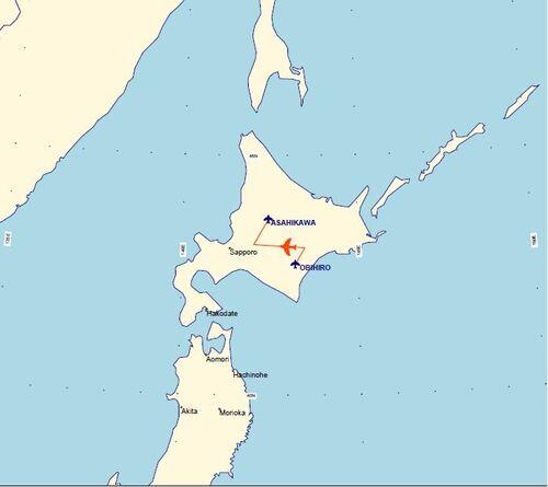 Plans de vol 1er juin : Kobé-Obihiro-Asahikawa