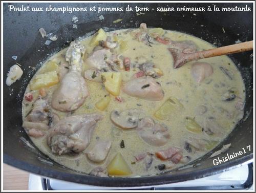 Poulet aux champignons et pommes de terre - sauce crémeuse à la moutarde