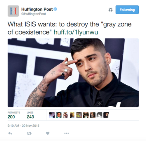 Photo de zayn Malik sur Huffingtonpost