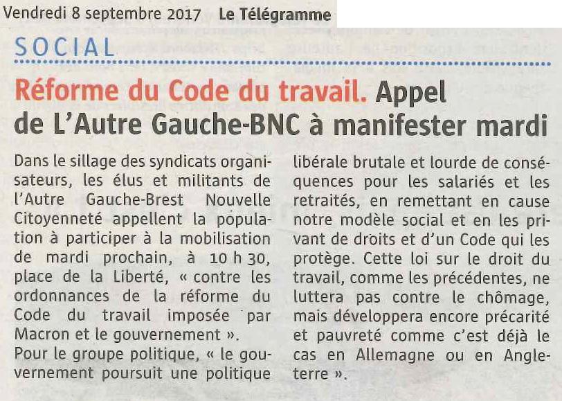 Loi Travail XXL : L'Autre Gauche-BNC soutient l'appel de l'intersyndicale pour la mobilisation du 12 septembre