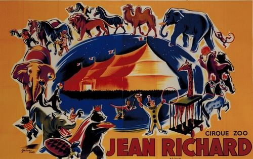 affiche du cirque- zoo Jean Richard en 1958