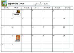 Calendrier à compléter 2014/2015 pour les CP