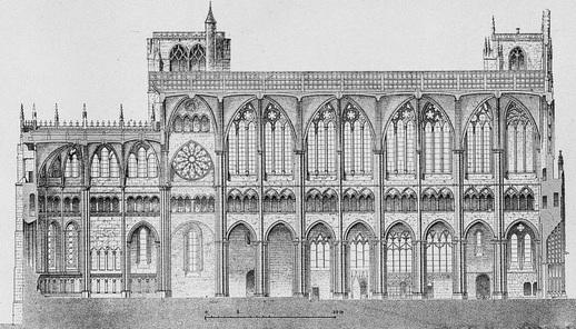 Gravure en noir et blanc montrant un édifice religieux à deux étages, orné de voutes.
