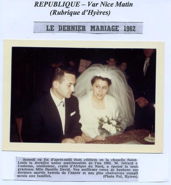 1962 - (29 déc) - Dernier Mariage de l\'année à Hyères