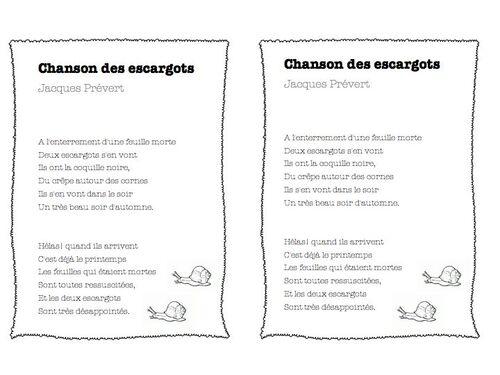 chanson des escargots, Jacques Prévert ce1-ce2